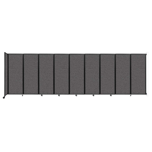 """Wall-Mounted Room Divider 360 Folding Partition 25' x 7'6"""" Charcoal Gray Fabric"""