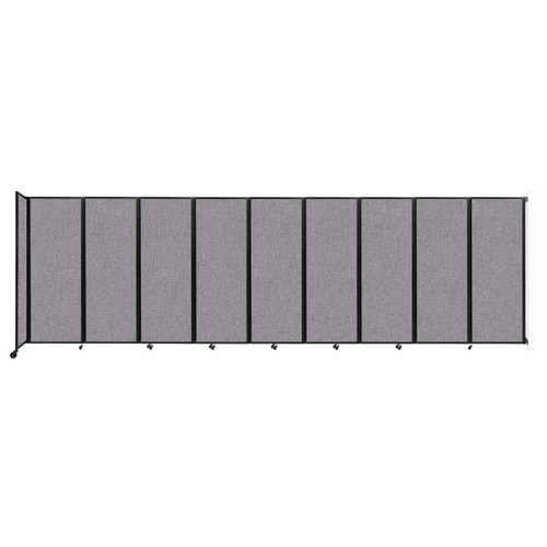 """Wall-Mounted Room Divider 360 Folding Partition 25' x 7'6"""" Cloud Gray Fabric"""