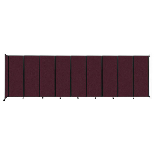 """Wall-Mounted Room Divider 360 Folding Partition 25' x 7'6"""" Cranberry Fabric"""