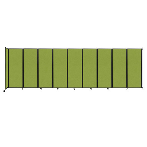 """Wall-Mounted Room Divider 360 Folding Partition 25' x 7'6"""" Lime Green Fabric"""