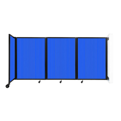 """Wall-Mounted Room Divider 360 Folding Partition 8'6"""" x 4' Blue Polycarbonate"""