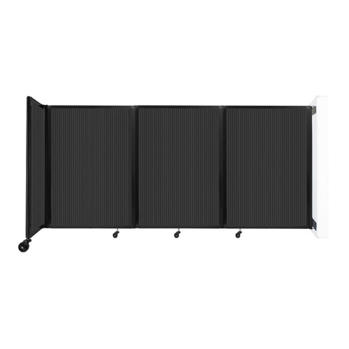 """Wall-Mounted Room Divider 360 Folding Partition 8'6"""" x 4' Dark Gray Polycarbonate"""