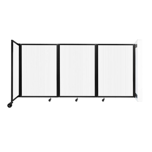 """Wall-Mounted Room Divider 360 Folding Partition 8'6"""" x 4' Opal Polycarbonate"""