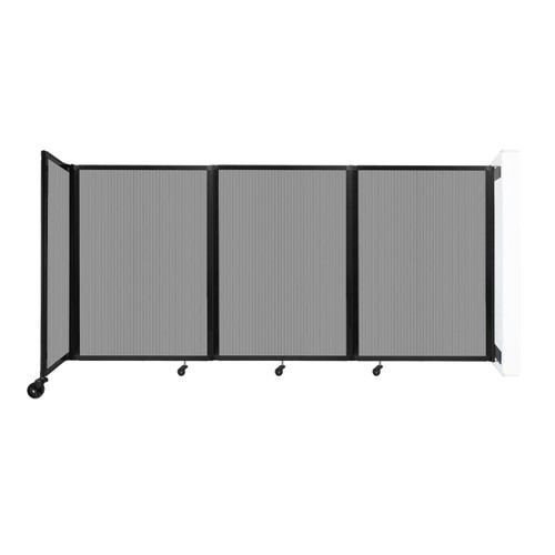 """Wall-Mounted Room Divider 360 Folding Partition 8'6"""" x 4' Light Gray Polycarbonate"""