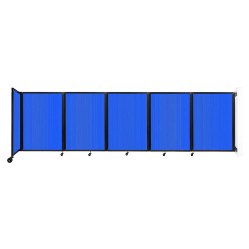 Wall-Mounted Room Divider 360 Folding Partition 14' x 4' Blue Polycarbonate