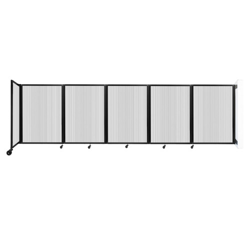 Wall-Mounted Room Divider 360 Folding Partition 14' x 4' Clear Polycarbonate