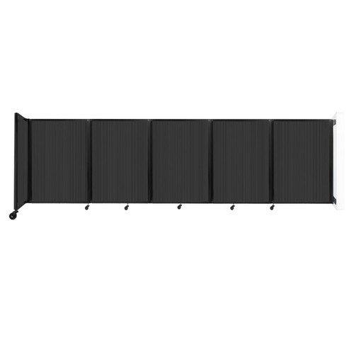 Wall-Mounted Room Divider 360 Folding Partition 14' x 4' Dark Gray Polycarbonate