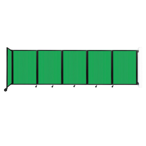 Wall-Mounted Room Divider 360 Folding Partition 14' x 4' Green Polycarbonate