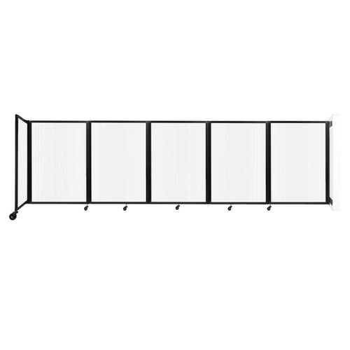 Wall-Mounted Room Divider 360 Folding Partition 14' x 4' Opal Polycarbonate