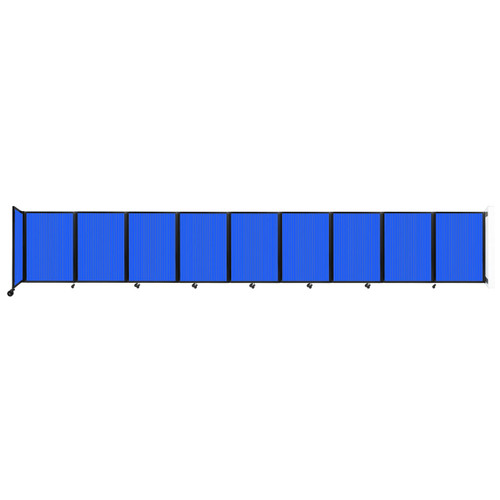 Wall-Mounted Room Divider 360 Folding Partition 25' x 4' Blue Polycarbonate