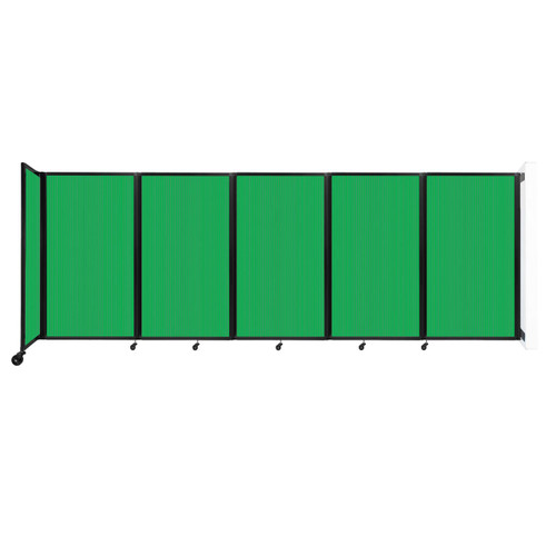 Wall-Mounted Room Divider 360 Folding Partition 14' x 5' Green Polycarbonate