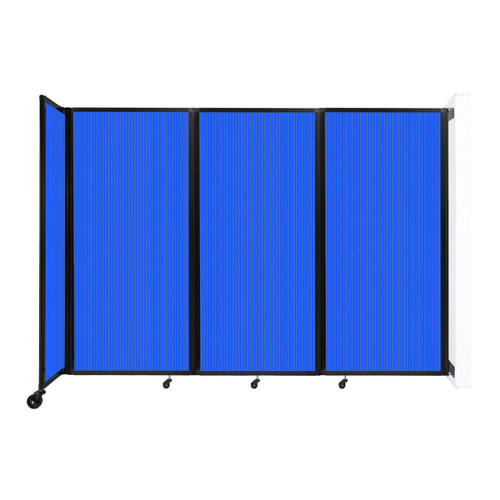 """Wall-Mounted Room Divider 360 Folding Partition 8'6"""" x 6' Blue Polycarbonate"""