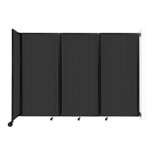 """Wall-Mounted Room Divider 360 Folding Partition 8'6"""" x 6' Dark Gray Polycarbonate"""