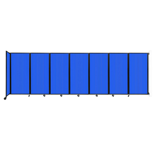 """Wall-Mounted Room Divider 360 Folding Partition 19'6"""" x 6' Blue Polycarbonate"""