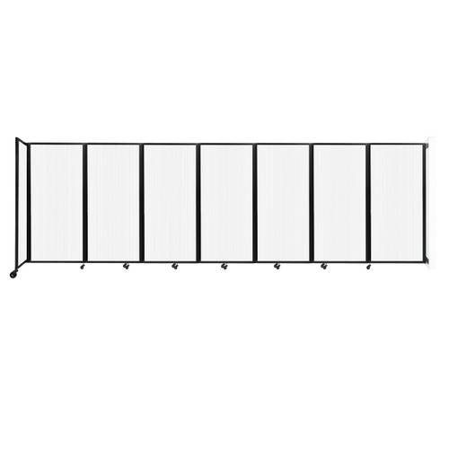 """Wall-Mounted Room Divider 360 Folding Partition 19'6"""" x 6' Opal Polycarbonate"""