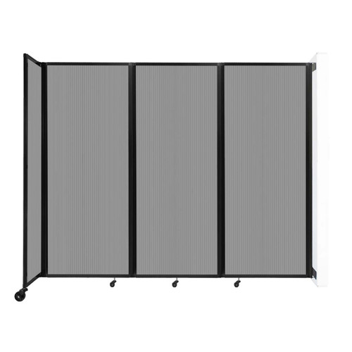 """Wall-Mounted Room Divider 360 Folding Partition 8'6"""" x 6'10"""" Light Gray Polycarbonate"""