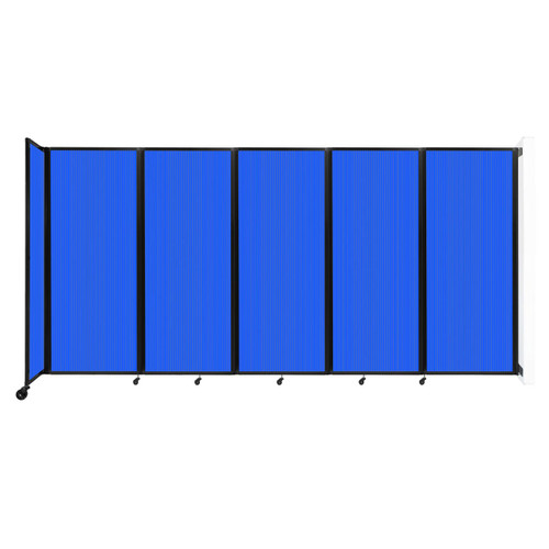 """Wall-Mounted Room Divider 360 Folding Partition 14' x 6'10"""" Blue Polycarbonate"""