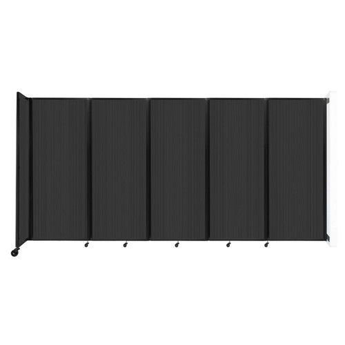 """Wall-Mounted Room Divider 360 Folding Partition 14' x 6'10"""" Dark Gray Polycarbonate"""