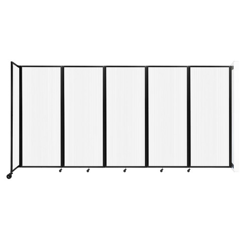 """Wall-Mounted Room Divider 360 Folding Partition 14' x 6'10"""" Opal Polycarbonate"""
