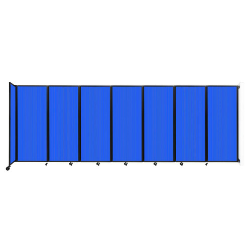"""Wall-Mounted Room Divider 360 Folding Partition 19'6"""" x 6'10"""" Blue Polycarbonate"""