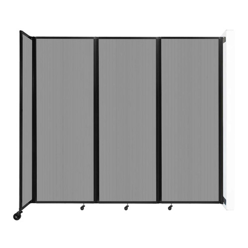 """Wall-Mounted Room Divider 360 Folding Partition 8'6"""" x 7'6"""" Light Gray Polycarbonate"""