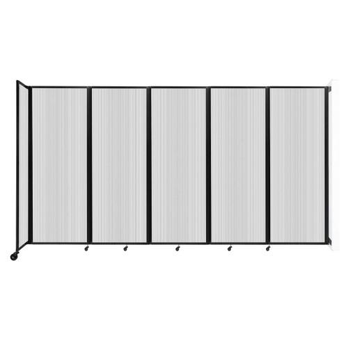 """Wall-Mounted Room Divider 360 Folding Partition 14' x 7'6"""" Clear Polycarbonate"""