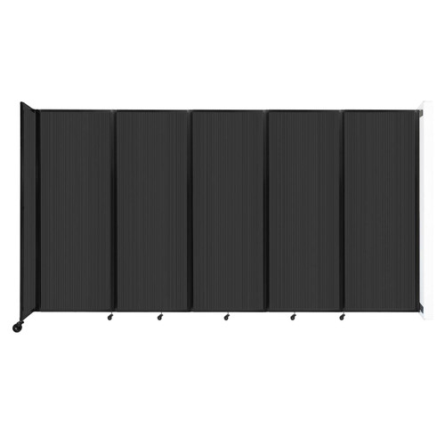 """Wall-Mounted Room Divider 360 Folding Partition 14' x 7'6"""" Dark Gray Polycarbonate"""