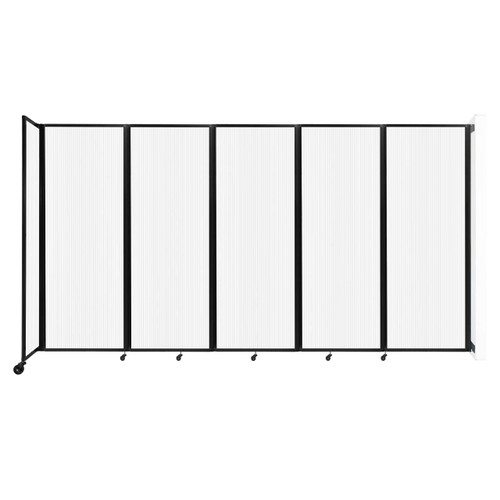 """Wall-Mounted Room Divider 360 Folding Partition 14' x 7'6"""" Opal Polycarbonate"""