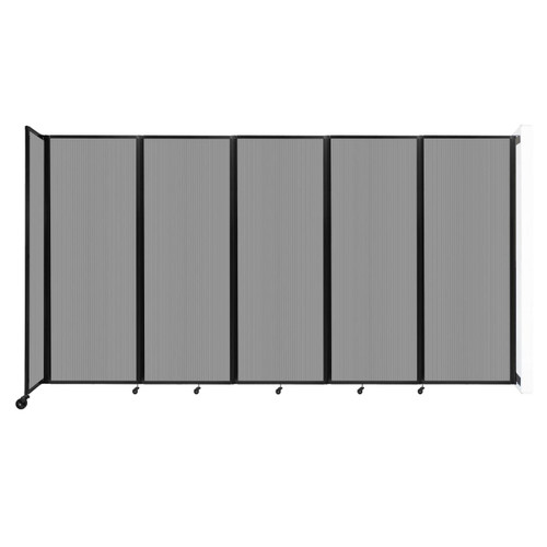 """Wall-Mounted Room Divider 360 Folding Partition 14' x 7'6"""" Light Gray Polycarbonate"""