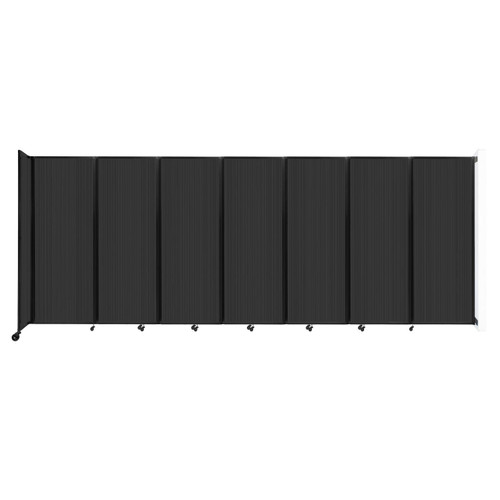 """Wall-Mounted Room Divider 360 Folding Partition 19'6"""" x 7'6"""" Dark Gray Polycarbonate"""