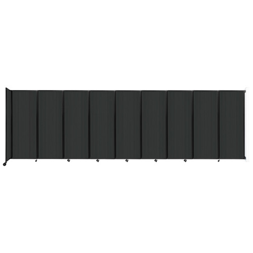 """Wall-Mounted Room Divider 360 Folding Partition 25' x 7'6"""" Dark Gray Polycarbonate"""