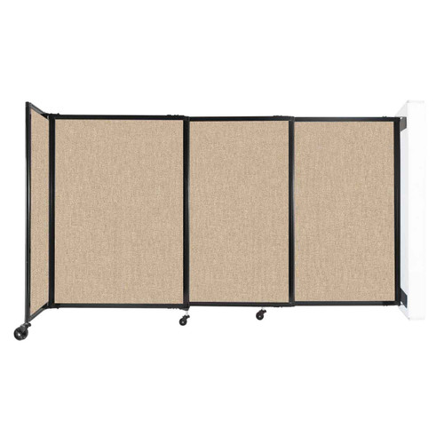 """Wall-Mounted StraightWall Sliding Partition 7'2"""" x 4' Beige Fabric"""