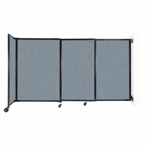 """Wall-Mounted StraightWall Sliding Partition 7'2"""" x 4' Powder Blue Fabric"""