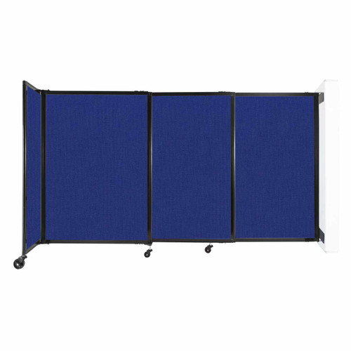 """Wall-Mounted StraightWall Sliding Partition 7'2"""" x 4' Royal Blue Fabric"""