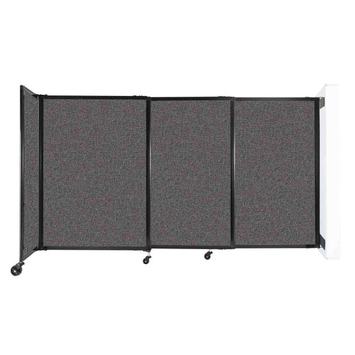 """Wall-Mounted StraightWall Sliding Partition 7'2"""" x 4' Charcoal Gray Fabric"""