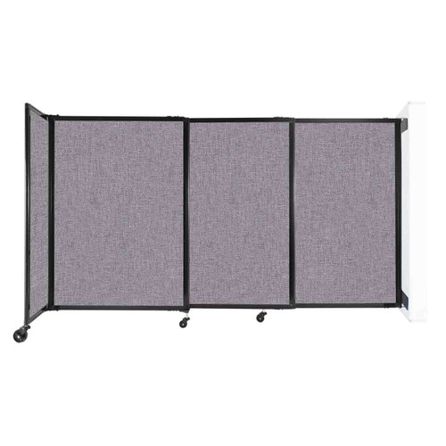 """Wall-Mounted StraightWall Sliding Partition 7'2"""" x 4' Cloud Gray Fabric"""