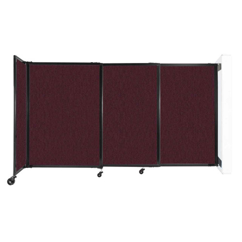 """Wall-Mounted StraightWall Sliding Partition 7'2"""" x 4' Cranberry Fabric"""