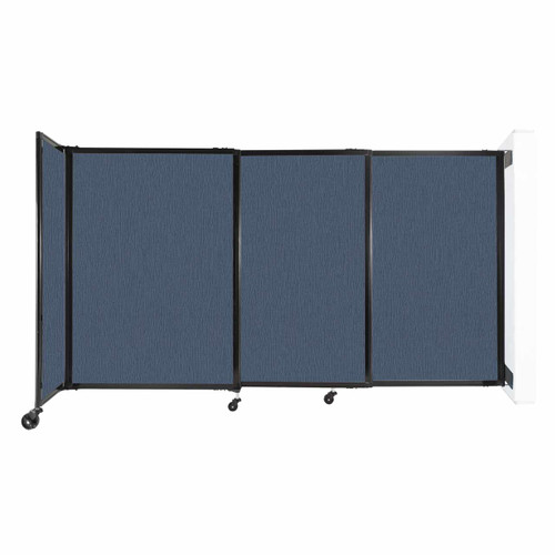 """Wall-Mounted StraightWall Sliding Partition 7'2"""" x 4' Ocean Fabric"""
