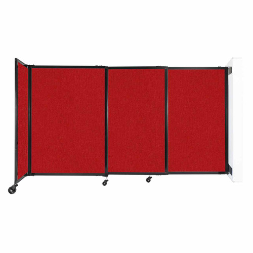 """Wall-Mounted StraightWall Sliding Partition 7'2"""" x 4' Red Fabric"""