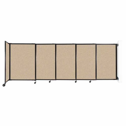 """Wall-Mounted StraightWall Sliding Partition 11'3"""" x 4' Beige Fabric"""