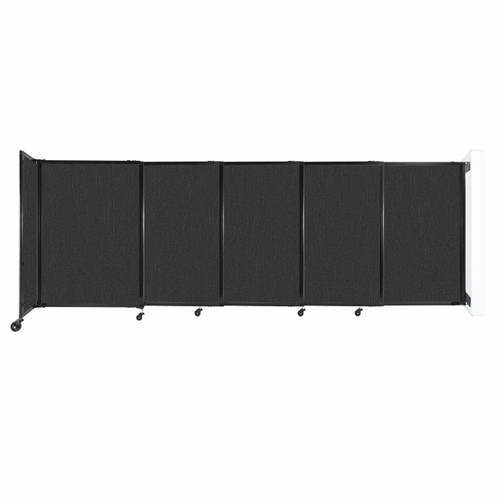 """Wall-Mounted StraightWall Sliding Partition 11'3"""" x 4' Black Fabric"""