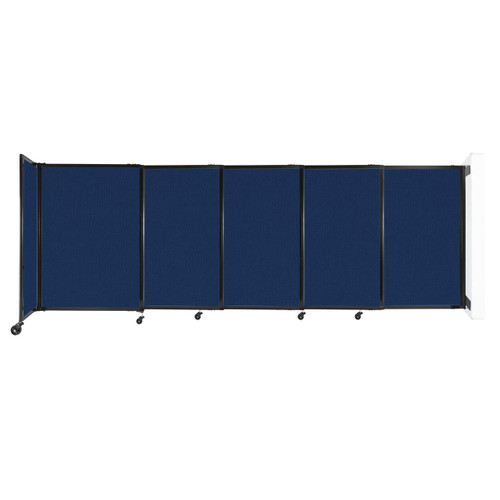 """Wall-Mounted StraightWall Sliding Partition 11'3"""" x 4' Navy Blue Fabric"""