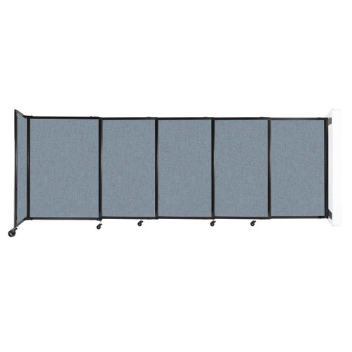 """Wall-Mounted StraightWall Sliding Partition 11'3"""" x 4' Powder Blue Fabric"""