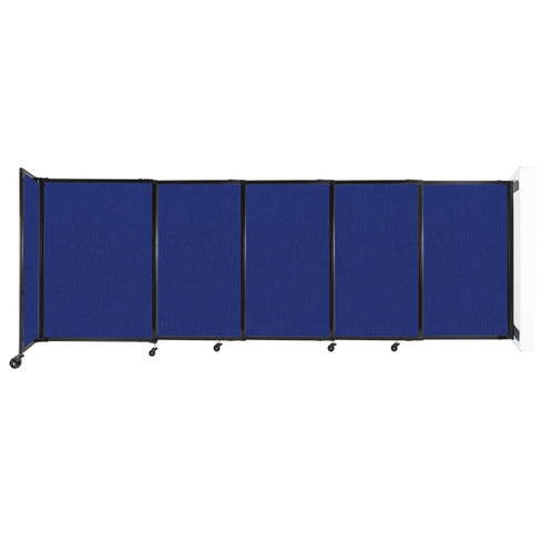 """Wall-Mounted StraightWall Sliding Partition 11'3"""" x 4' Royal Blue Fabric"""