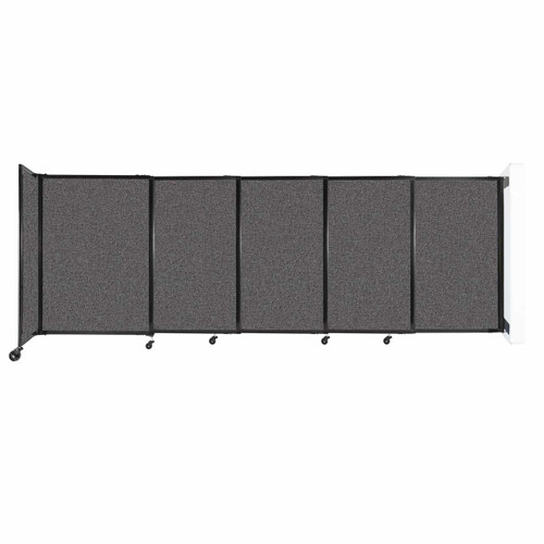 """Wall-Mounted StraightWall Sliding Partition 11'3"""" x 4' Charcoal Gray Fabric"""