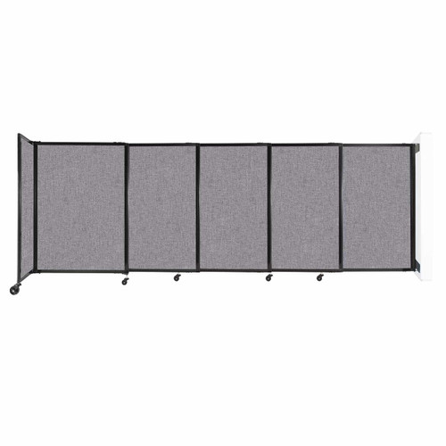 """Wall-Mounted StraightWall Sliding Partition 11'3"""" x 4' Cloud Gray Fabric"""