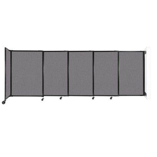 """Wall-Mounted StraightWall Sliding Partition 11'3"""" x 4' Slate Fabric"""