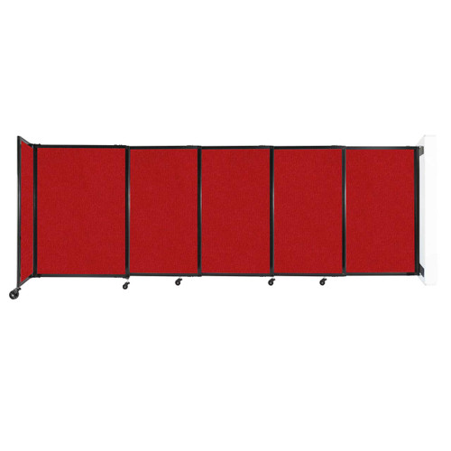 """Wall-Mounted StraightWall Sliding Partition 11'3"""" x 4' Red Fabric"""