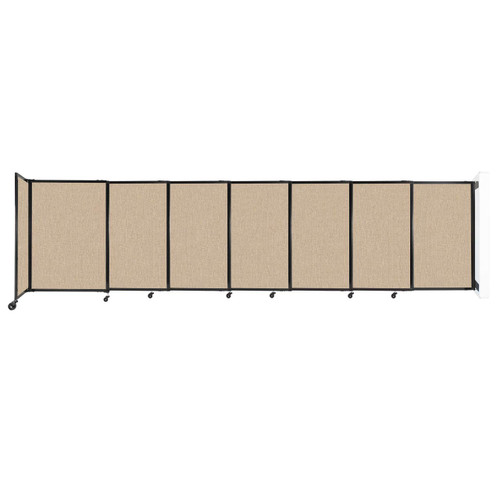 """Wall-Mounted StraightWall Sliding Partition 15'6"""" x 4' Beige Fabric"""