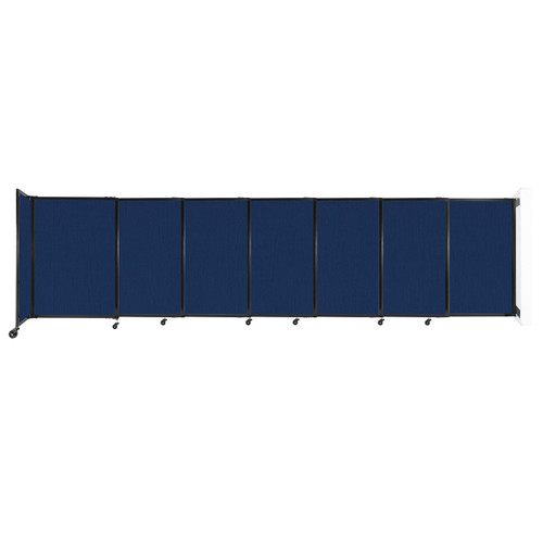 """Wall-Mounted StraightWall Sliding Partition 15'6"""" x 4' Navy Blue Fabric"""